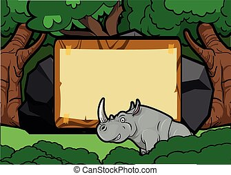 Rhino forest scene with wood banner