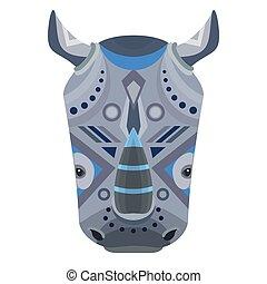 Rhino Head Logo. Vector decorative Emblem.