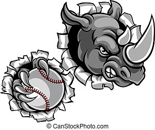 Rhino Holding Baseball Ball Breaking Background