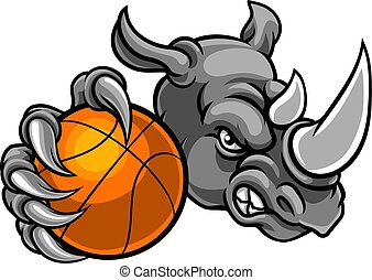 Rhino Holding Basketball Ball Mascot
