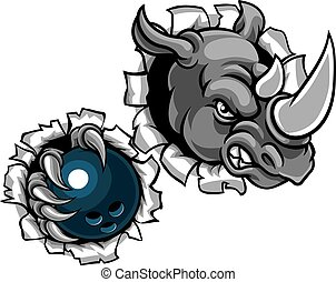 Rhino Holding Bowling Ball Breaking Background