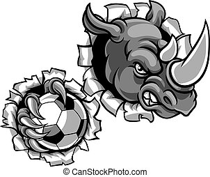 Rhino Holding Soccer Ball Breaking Background