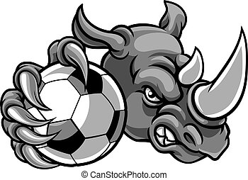 Rhino Holding Soccer Football Ball Mascot
