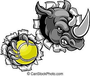 Rhino Holding Tennis Ball Breaking Background