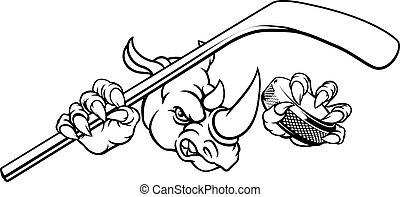 Rhino Ice Hockey Player Animal Sports Mascot