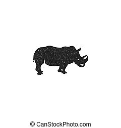 Rhino icon silhouette design. Wild animal symbol and element isolated on white background. Vintage hand hand animal pictogram. Stock vector illustration of rhinoceros