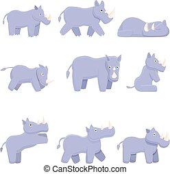 Rhino icons set, cartoon style