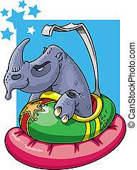 Rhino in bumper car - Don't mess with the wrong guy. Rhino...