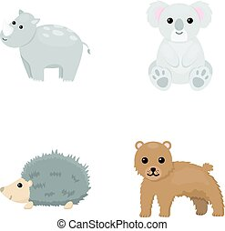 Rhino, koala, panther, hedgehog.Animal set collection icons in cartoon style vector symbol stock illustration web.