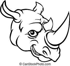 Rhino Mascot Cute Happy Cartoon Character