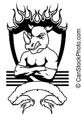 rhino mascot muscle crest shield