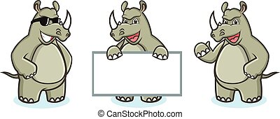 Rhino Mascot Vector happy