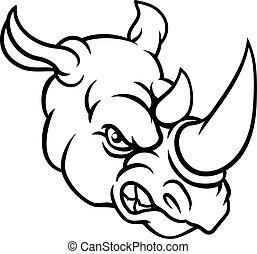 Rhino Mean Angry Sports Mascot