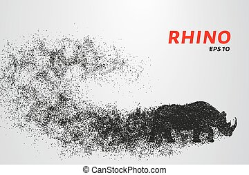 Rhino of the particles. Rhino consists of small circles. Vector illustration.