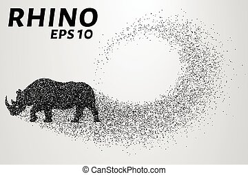 Rhino of the particles. Rhino consists of small circles. Vector illustration