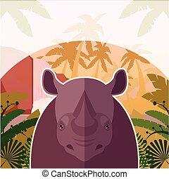 Rhino on the Jungle Background