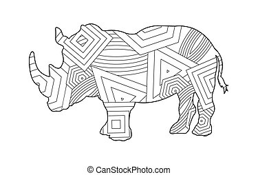 Rhino pattern coloring book for kids and adults