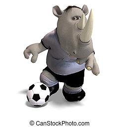 rhino plays soccer / football - funny rhino plays soccer. ...