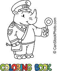 Rhino railroader coloring book. Animal Alphabet R