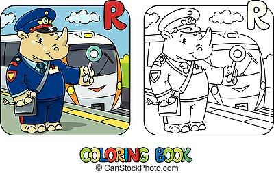Rhino railroader coloring book. Animal Alphabet R - Rhino ...