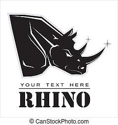 rhino., rhinocéros noir, élégant
