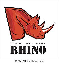 rhino., rinoceronte, rojo, elegante