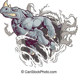 Rhino Ripping Out of Background - Vector Cartoon Clip Art...