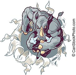 Vector Cartoon Clip Art Illustration of an Anthropomorphic Cartoon Mascot Rhino or Rhinoceros Ripping Through a Paper Background from a front view.