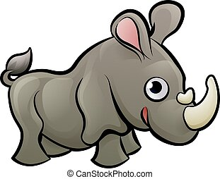 Rhino Safari Animals Cartoon Character