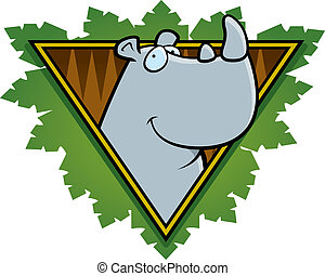 Rhino Safari Icon - A happy cartoon rhino on a safari themed...