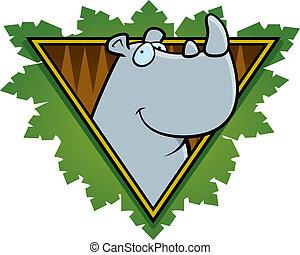 Rhino Safari Icon - A happy cartoon rhino on a safari themed...
