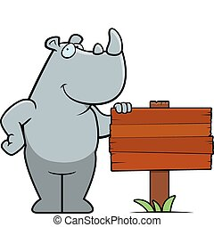 A happy cartoon rhino standing next to a wood sign.