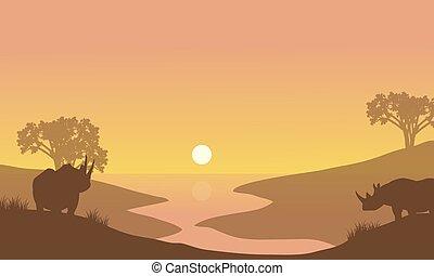 Rhino silhouette in riverbank