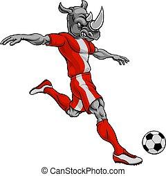Rhino Soccer Football Player Animal Sports Mascot