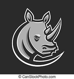 Rhino sport logo vector illustration. Logotype template for mascot team. Rhinoceros head.