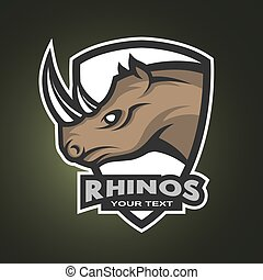 Rhino sports logo, emblem.