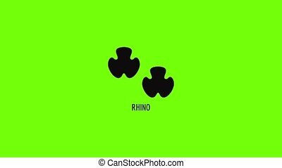 Rhino step icon animation best simple object on green screen background