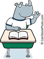Rhino Student - A happy cartoon rhino student at a desk.