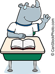 Rhino Student - A happy cartoon rhino student at a desk.