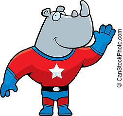 Rhino Superhero - A happy cartoon rhino superhero waving and...