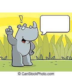 Rhino Talking - A happy cartoon rhino talking and smiling.