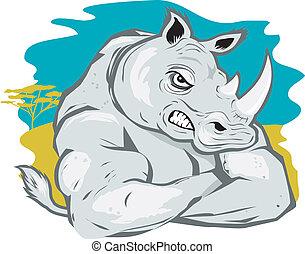 A cartoon rhino in a tough-guy pose