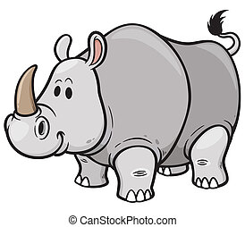 Rhino - Vector illustration of Cartoon rhino