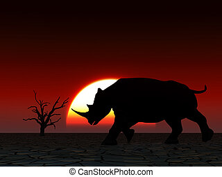 Rhino Wildlife - An image of an Rhino silhouette with a...
