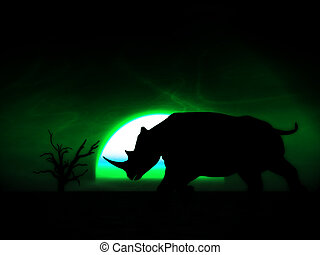 Rhino Wildlife - An image of an Rhino silhouette with a...