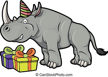 Rhino with gift using Birhtday