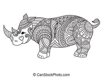 Rhino2 - Drawing zentangle rhino for coloring page, shirt...