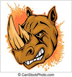 rhinocéros, athlétique, conception, complet, à, rhinocéros,...
