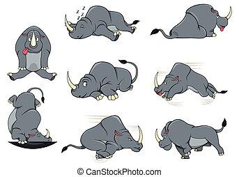 rhinocéros, ensemble, caractère, collection