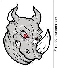 rhinocéros, fâché, mascotte